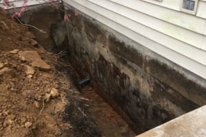 Exterior waterproofing excavation